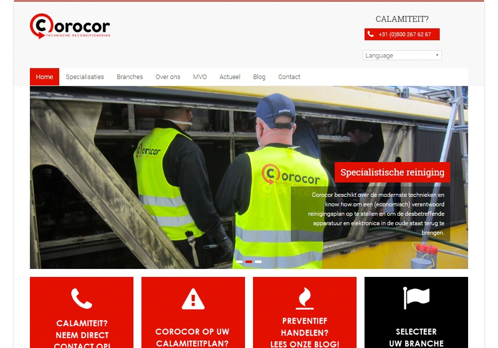 Website Corocor Technische Recoditionering